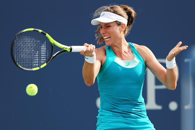 <p>Johanna Konta of Great Britain returns a shot during her first round Women's Singles match against Aleksandra Krunic of Serbia & Montenegro on Day One of the 2017 US Open at the USTA Billie Jean King National Tennis Center on August 28, 2017 in the Flushing neighborhood of the Queens borough of New York City. (Photo by Elsa/Getty Images) </p>