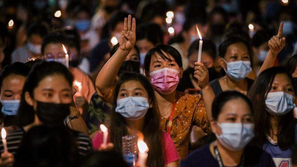 night time protest in Hledan junction Yangon 14 March