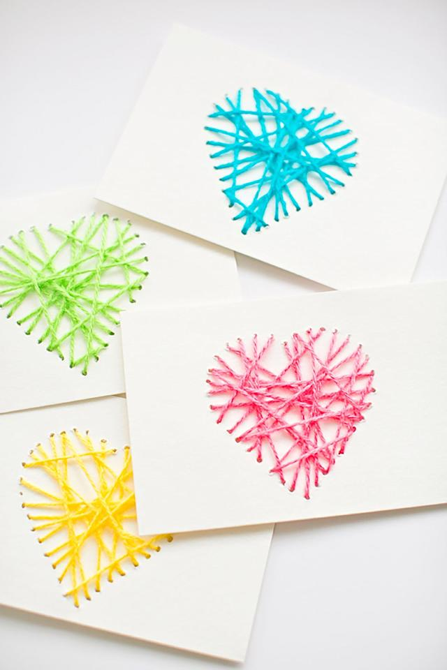 "<p>These simple yet creative cards only require colorful yarn, thick card stock paper, and a threading needle to make. </p><p><strong>Get the tutorial at <a href=""https://www.hellowonderful.co/post/MAKE-STRING-HEART-YARN-CARDS/#_a5y_p=6070491"" target=""_blank"">Hello Wonderful</a>. </strong></p><p><strong>RELATED: </strong> <a href=""https://www.womansday.com/relationships/family-friends/g1123/cheap-mothers-day-gifts/"" target=""_blank""><strong>Perfect Mother's Day Gifts That Are Totally Affordable</strong></a></p>"