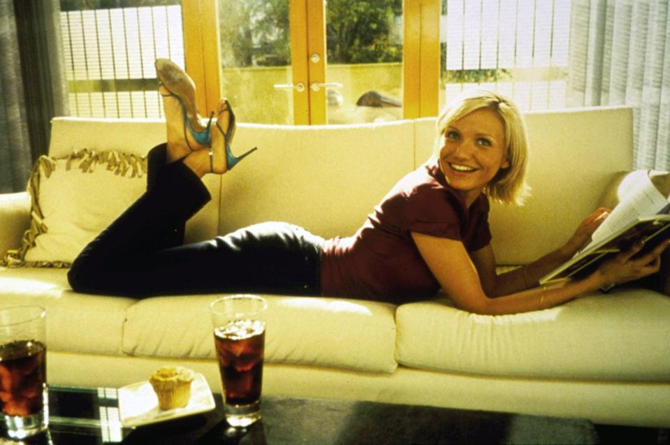 <p>Cameron's laidback look at home includes a pair of slingback heels, because why not?</p>