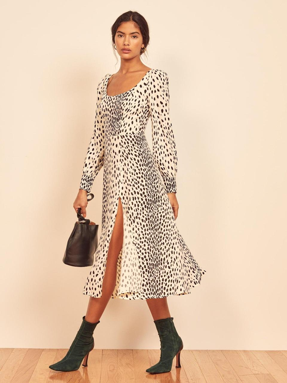 """<br><br><strong>Reformation</strong> Alessi Dress, $, available at <a href=""""https://go.skimresources.com/?id=30283X879131&url=https%3A%2F%2Fwww.thereformation.com%2Fproducts%2Falessi-dress%3Fcolor%3DCheetah"""" rel=""""nofollow noopener"""" target=""""_blank"""" data-ylk=""""slk:Reformation"""" class=""""link rapid-noclick-resp"""">Reformation</a>"""