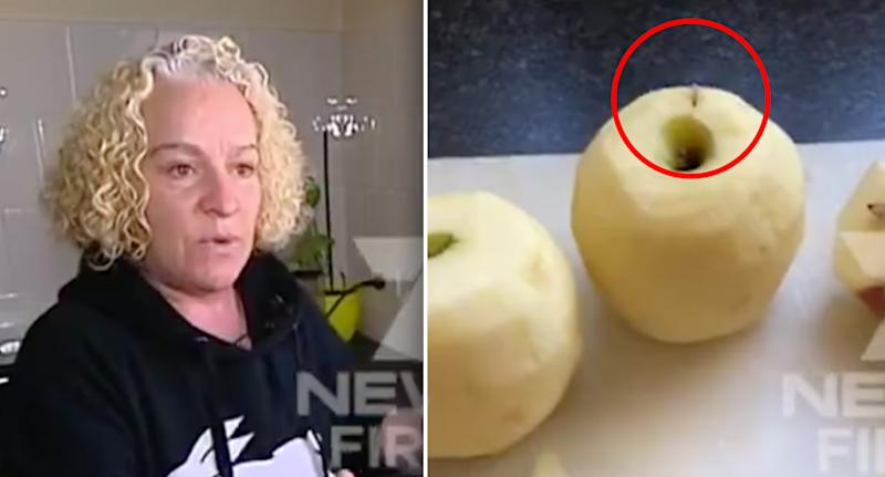 A Kellyville mother in Sydney's north-west said she found a needle in a Woolworths apple.