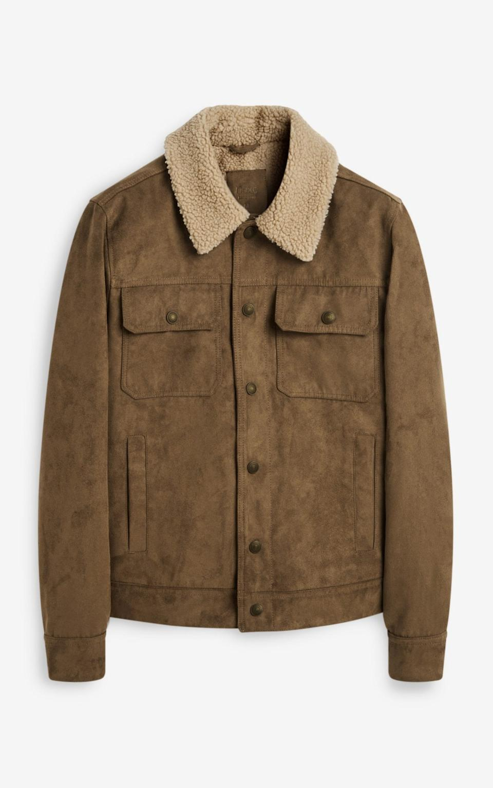 Faux suede jacket with Borg collar, £65, Next