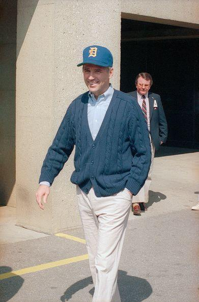 <p>Biden leaving Walter Reed Army Hospital after brain blood clot surgery in 1988. </p>