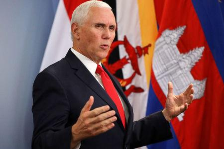 U.S. Vice President Mike Pence speaks during a news conference in Singapore