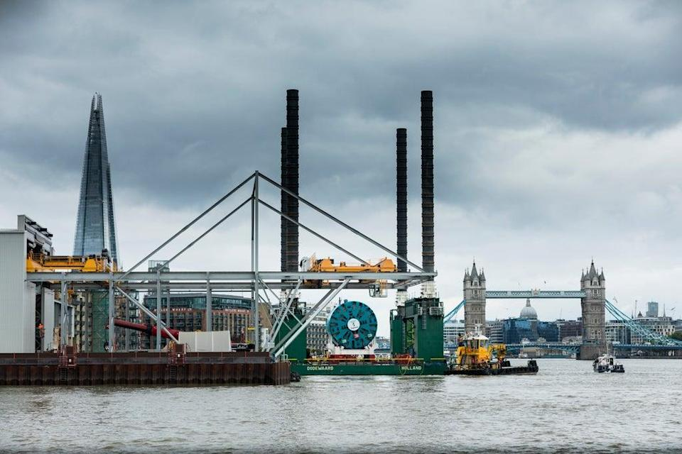 TBM Selina, a giant tunnel boring machine (TBM) being delivered to Tideway's Chambers Wharf site in Bermondsey, London, it's one of six TBMs which are being used to create London's super sewer (Tideway/PA) (PA Media)