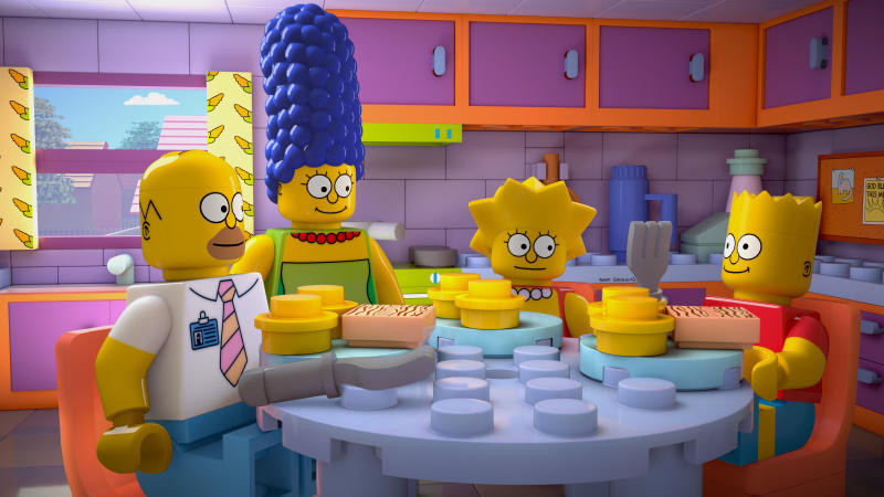 """This image released by FOX shows characters from the animated series, """"The Simpsons,"""" from left, Homer, Marge, Lisa and Bart, as Lego figures in episode No. 550, titled, """"Brick Like Me,"""" airing Sunday. Using computer-generated special effects, the town of Springfield and its residents have been reimagined in the style of the famed plastic toys. (AP Photo/Fox)"""