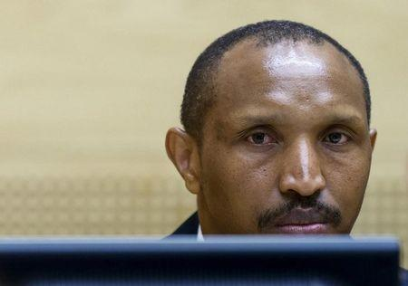 Congolese militia leader Ntaganda sits in the courtroom of the ICC during the first day of his trial at the Hague in the Netherlands