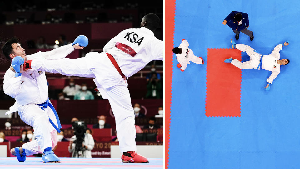 Sajad Ganjzadeh, pictured here being knocked out in the karate gold medal match.