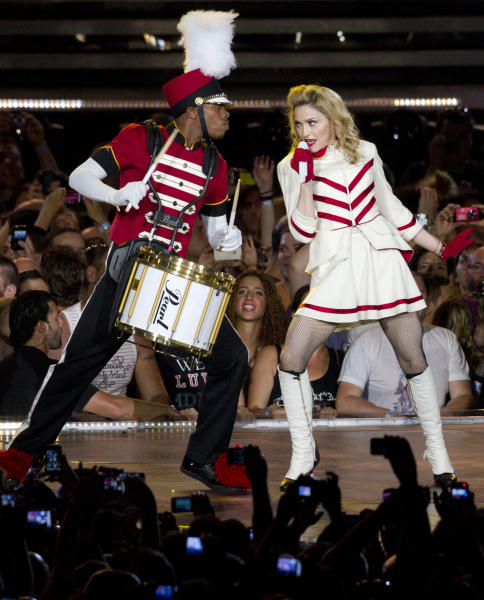 U.S pop icon Madonna performs at the Ramat Gan stadium near Tel Aviv, Israel, Thursday, May 31, 2012. Pop music star Madonna is kicking off her new world tour in front of tens of thousands of ecstatic fans in Israel. (AP Photo/Ariel Schalit)