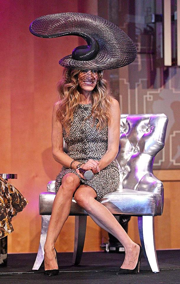 Holy hat! Sarah Jessica Parker wore quite the topper -- designed by Philip Treacy -- at the VRC Oaks Club Ladies Luncheon  during her visit to Melbourne, Australia, this week. Not that she was looking for attention or anything ... (11/2/2011)