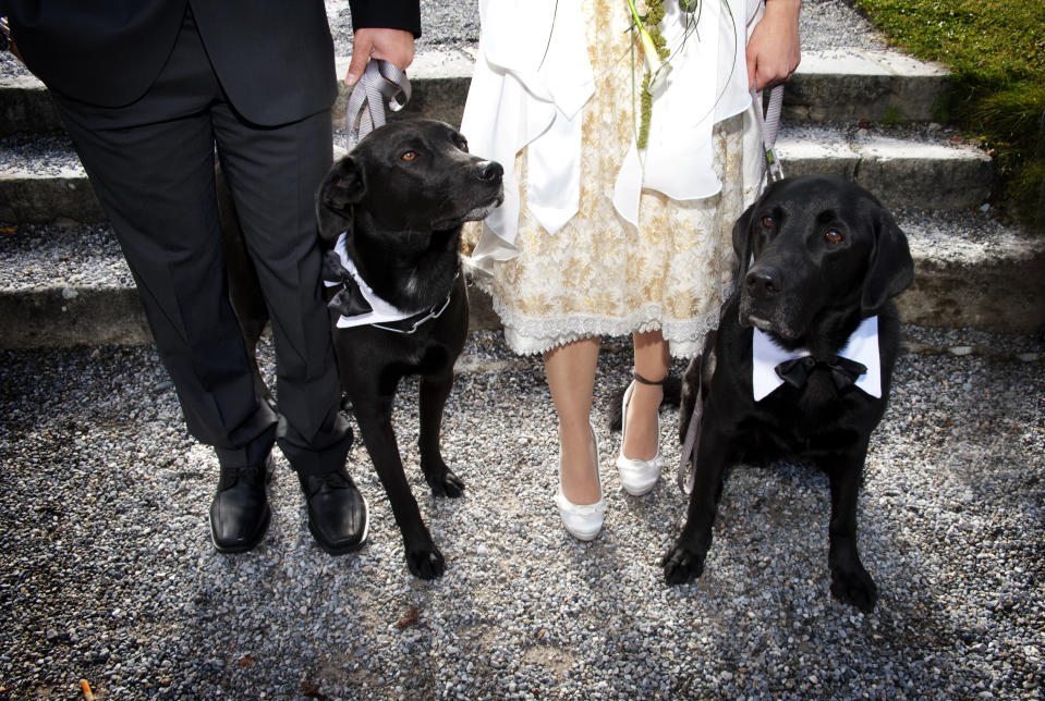 She decided to spend some time with her dog before the ceremony. [Photo: Getty]