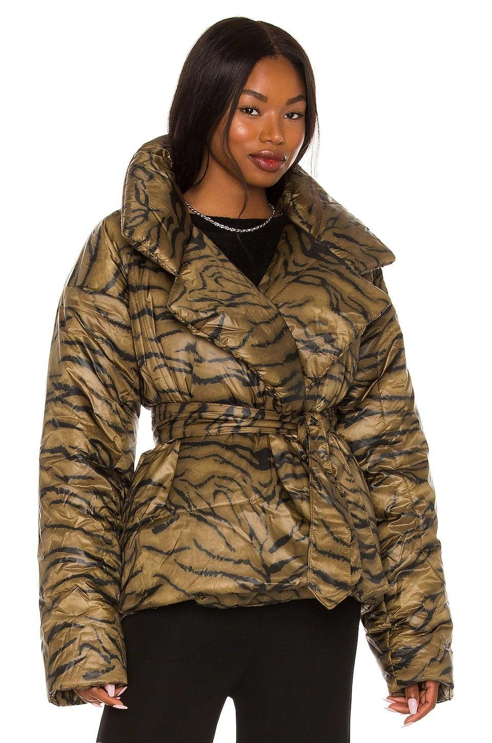 <p>The iconic <span>Norma Kamali Sleeping Bag Short Coat</span> ($540) is back, and this year, it comes in a fun tiger print. You'll stay so cozy and comfortable this season.</p>