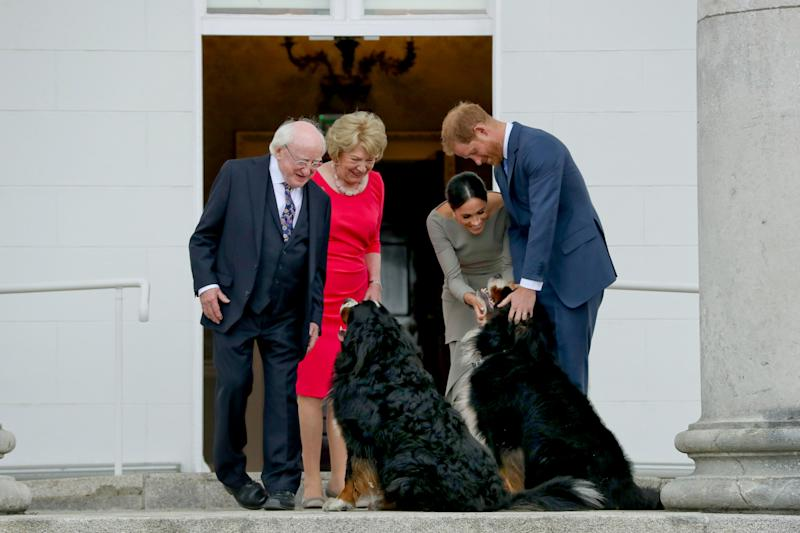 Britain's Prince Harry (R) and wife Meghan (2R), Duke and Duchess of Sussex greet the dogs of Ireland's President Michael Higgins and wife Sabina on arrival at the Presidential mansion on the second day of their visit in Dublin on July 11, 2018. (Photo by MAXWELLS / POOL / AFP) (Photo credit should read MAXWELLS/AFP via Getty Images)