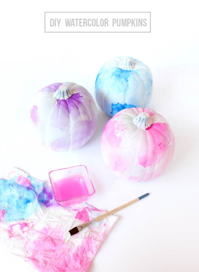 """<p>These funky pumpkins allow tons of freedom when crafting. Choose your own complementary shades of paint and play around with the watercolor patterns to really make it your own.</p><p><em><strong>Get the tutorial from <a href=""""http://www.linesacross.com/2015/09/diy-watercolor-pumpkins.html/"""" rel=""""nofollow noopener"""" target=""""_blank"""" data-ylk=""""slk:Lines Across"""" class=""""link rapid-noclick-resp"""">Lines Across</a>.</strong></em><br></p>"""