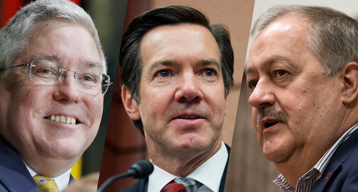 From left, three Republican candidates in the West Virginia Senate primary, Attorney General Patrick Morrisey, Rep. Evan Jenkins, R-W.Va., and former Massey CEO Don Blankenship. (Photos: Luke Sharrett/Bloomberg via Getty Images; Tom Williams/CQ Roll Call/Getty Images; Steve Helber/AP)