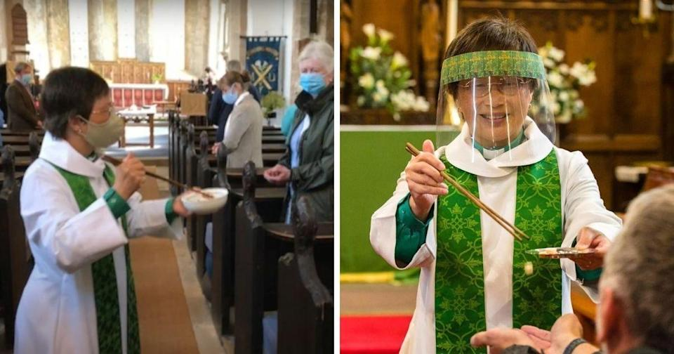 <p>Harrop was lauded for using chopsticks to give Communion to her parishioners. | Photos courtesy of @StMarysandStAndrewsGainfordandWinston/YouTube (left) and @Liskeardprayers/Facebook (right)</p>