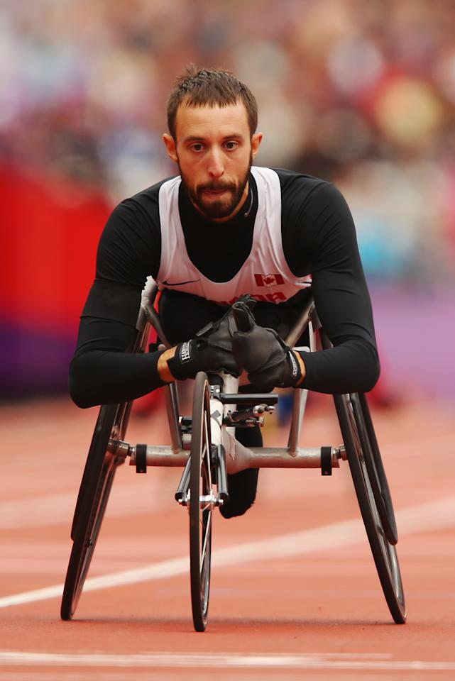 LONDON, ENGLAND - SEPTEMBER 02:  Brent Lakatos of Canada competes in the Men's 400m - T53 heats on day 4 of the London 2012 Paralympic Games at Olympic Stadium on September 2, 2012 in London, England.  (Photo by Mike Ehrmann/Getty Images)