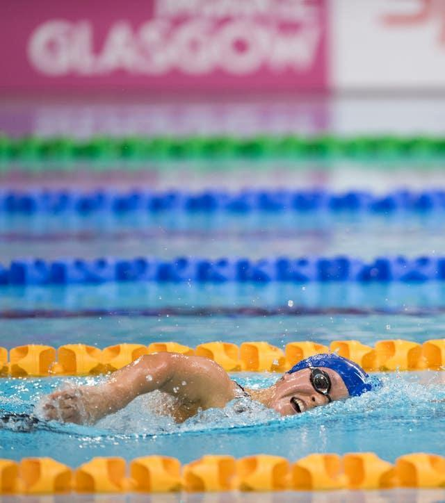 Ellie Simmonds on her way to victory in her 400m freestyle heat at the Glasgow 2015 IPC World Championships