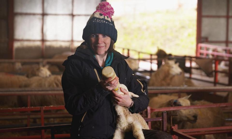 Sheep Farmer Stella Phillips at Tylebrythos farm in the Brecon Beacons ... A Year in the Beacons.