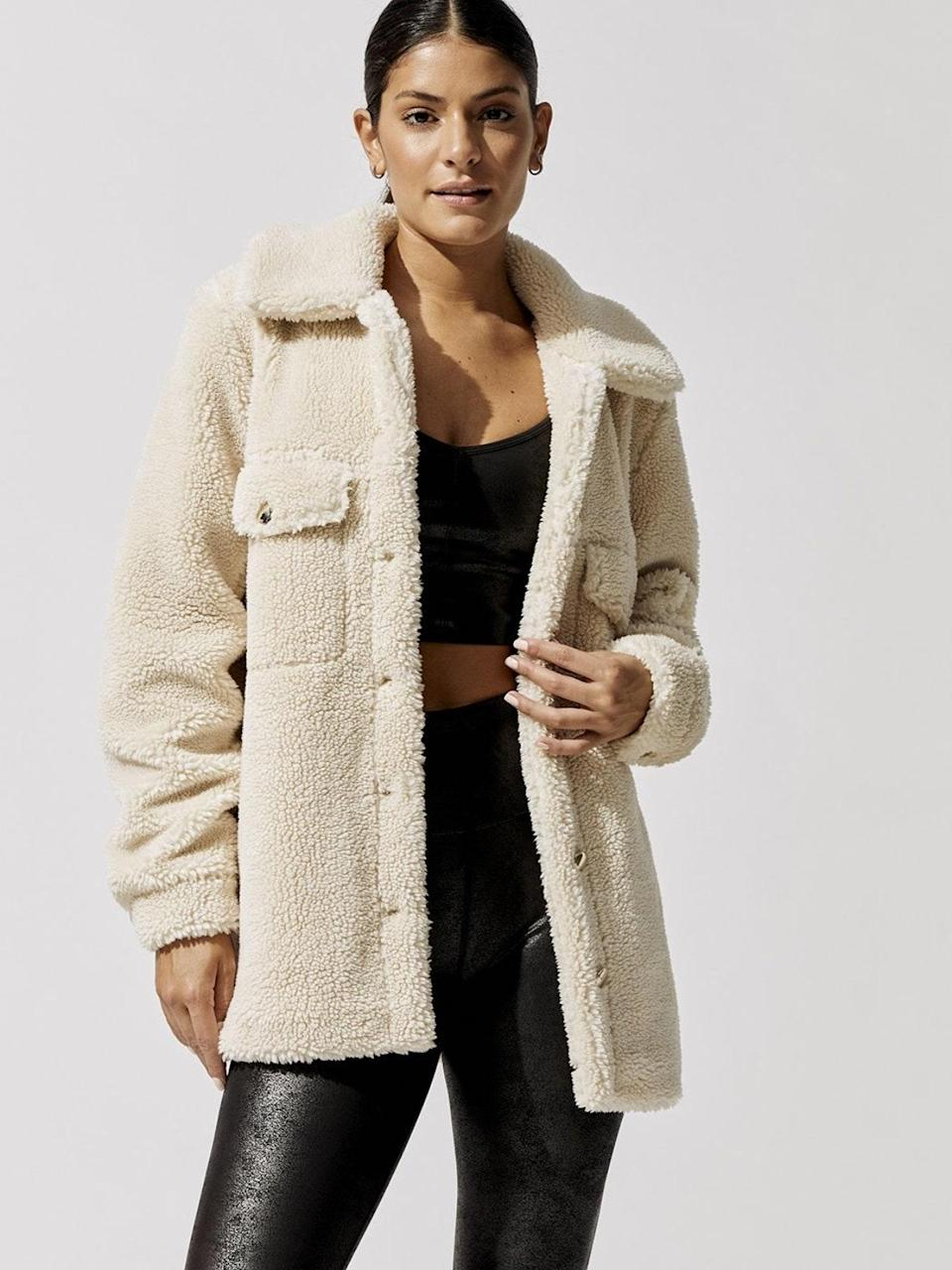 """ICYMI, the sherpa shacket is an MVP for throwing over <a href=""""https://www.glamour.com/gallery/best-unlined-bra-cashmere-bra-to-buy-now?mbid=synd_yahoo_rss"""" rel=""""nofollow noopener"""" target=""""_blank"""" data-ylk=""""slk:cashmere bras"""" class=""""link rapid-noclick-resp"""">cashmere bras</a> to keep goosebumps at bay. $168, Carbon38. <a href=""""https://carbon38.com/products/sherpa-shacket"""" rel=""""nofollow noopener"""" target=""""_blank"""" data-ylk=""""slk:Get it now!"""" class=""""link rapid-noclick-resp"""">Get it now!</a>"""