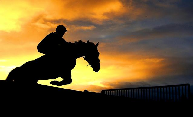 <p>A runner takes a flight during the Devon County Show Conditional Jockeys Handicap Hurdle at Exeter Racecourse on November 26, 2017 in Exeter, England. (Photo by Harry Trump/Getty Images) </p>