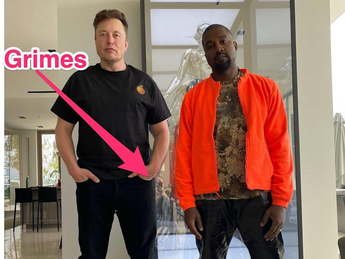 """Kanye West posted a photo of himself and Elon Musk in which they are """"both wearing orange."""""""