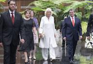 <p>For the couple's official welcome from Cuban President Miguel Diaz-Canal and his wife, Camilla wore a white caftan and wide legged pants with metallic wedges and a gold clutch. </p>