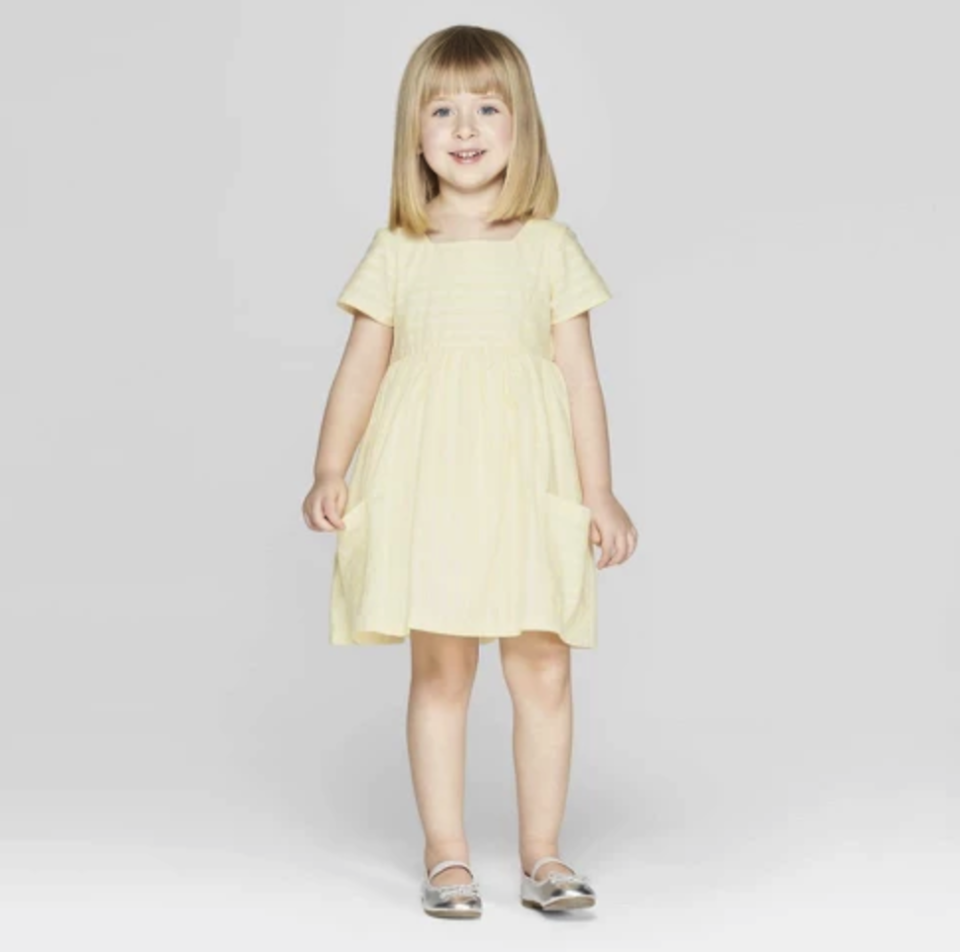 Mila & Emma Toddler Girls' Stripe A-Line Dress with Pockets. (Photo: Target)