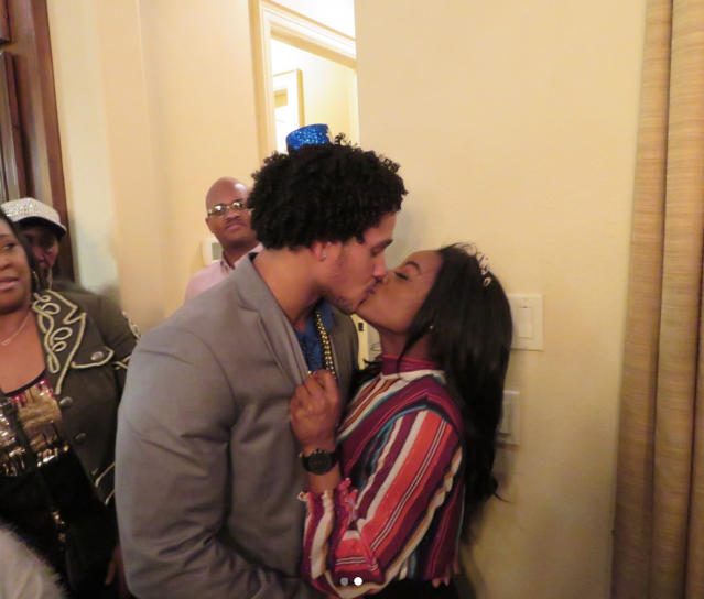 "<p>You'd better believe the couple spent New Year's Eve together. Biles and Ervin's kiss was so passionate that people were staring! (Photo: <a href=""https://www.instagram.com/p/BdaqCZzH_xa/?hl=en&taken-by=simonebiles"" rel=""nofollow noopener"" target=""_blank"" data-ylk=""slk:Simone Biles via Instagram"" class=""link rapid-noclick-resp"">Simone Biles via Instagram</a>) </p>"