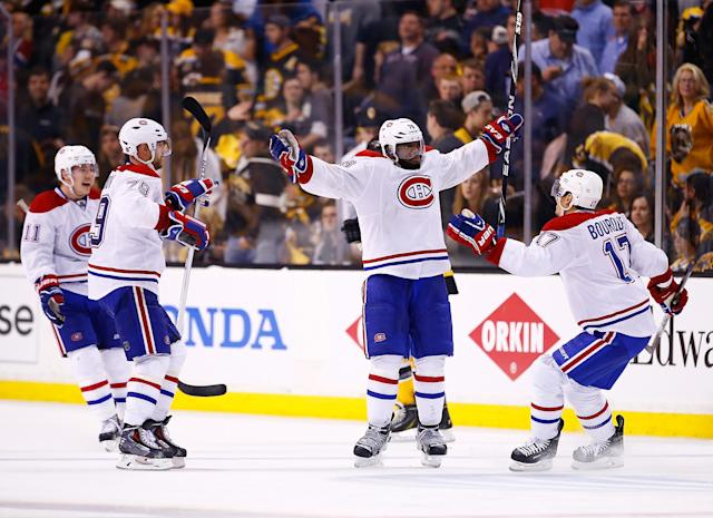 BOSTON, MA - MAY 01: P.K. Subban #76 of the Montreal Canadiens celebrates his game-winning power play goal with his teammates in the second overtime period against the Boston Bruins in Game One of the Second Round of the 2014 NHL Stanley Cup Playoffs on May 1, 2014 in Boston, Massachusetts. (Photo by Jared Wickerham/Getty Images)