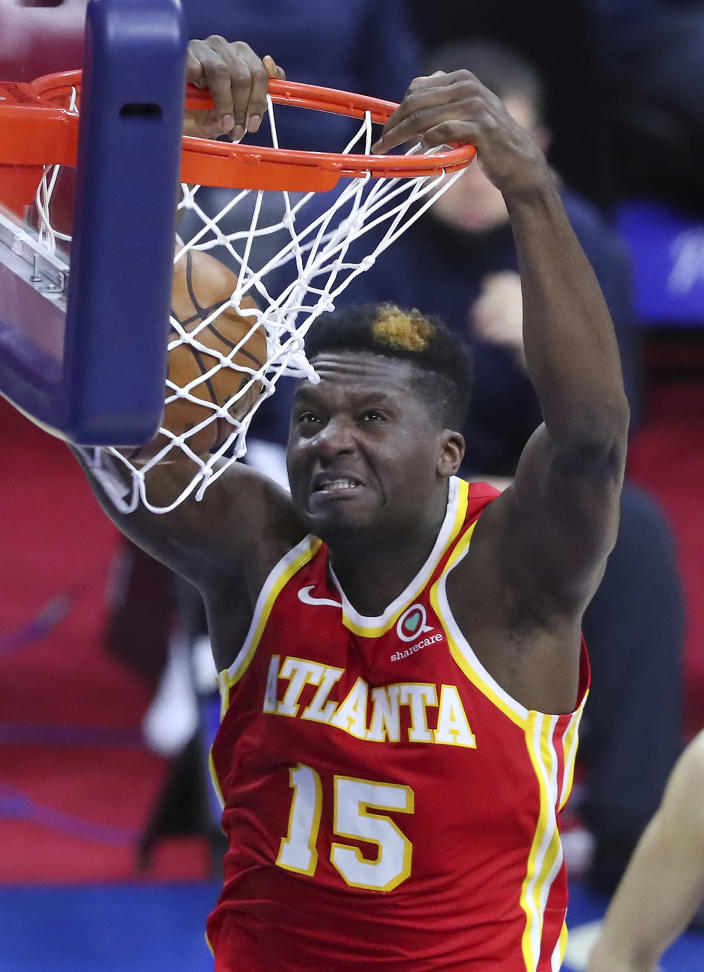 Atlanta Hawks center Clint Capela slams for two in the second half against the Philadelphia 76ers in game 5 of their NBA Eastern Conference semifinals series on Wednesday, Jun 16, 2021, in Philadelphia. (Curtis Compton/Atlanta Journal-Constitution via AP)