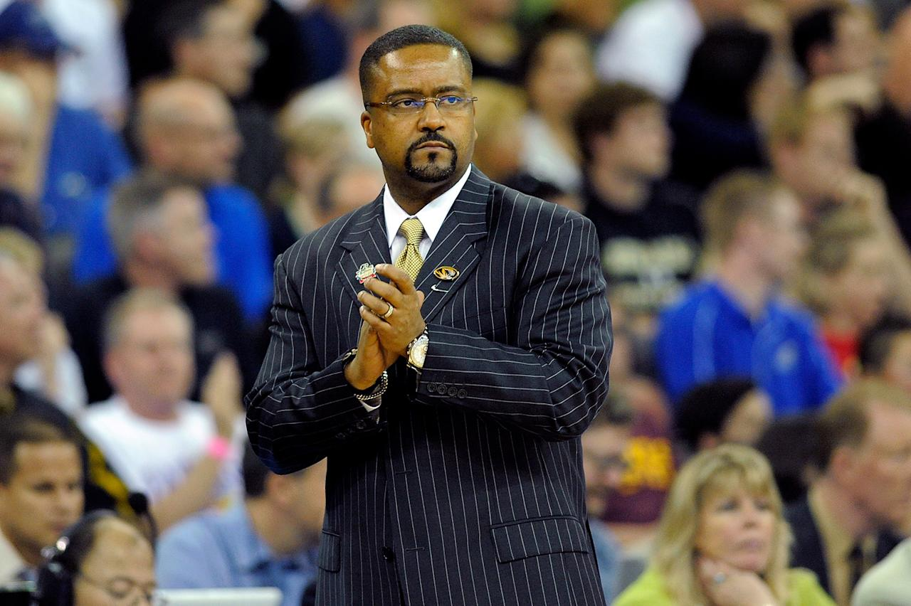 Head coach Frank Haith of the Missouri Tigers looks on against the Norfolk State Spartans during the second round of the 2012 NCAA Men's Basketball Tournament at CenturyLink Center on March 16, 2012 in Omaha, Nebraska.  (Photo by Eric Francis/Getty Images)