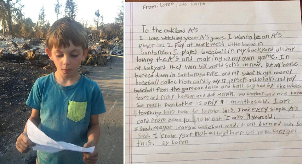 9-year-old Loren Jade Smith and his letter to the A's. (@KatieUtehs and @MelanieWoodrow)
