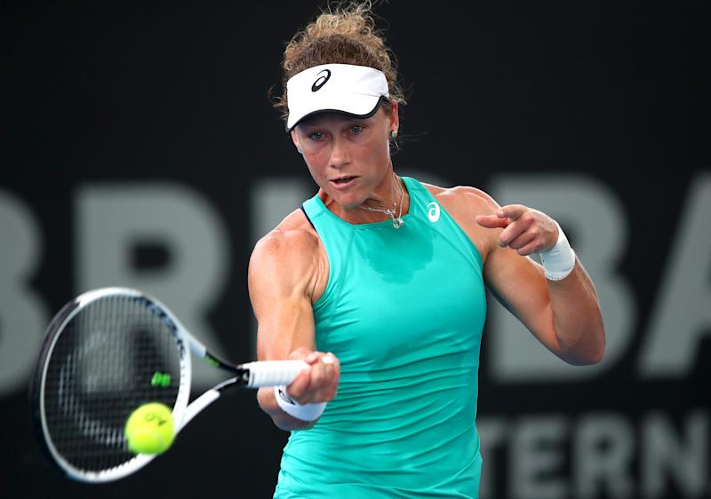 Samantha Stosur of Australia plays a shot in her match against Angelique Kerber of Germany during day one of the 2020 Brisbane International at Pat Rafter Arena on January 06, 2020 in Brisbane, Australia. (Photo by Jono Searle/Getty Images)