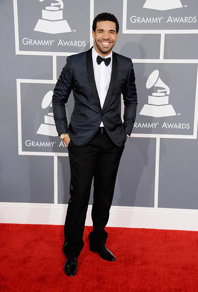 Drake arrives at the 55th Annual Grammy Awards at the Staples Center in Los Angeles, CA on February 10, 2013.