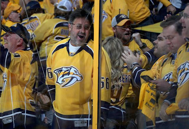 <p>Country legend Vince Gill celebrates a goal by the Nashville Predators during Game 4 of the Stanley Cup Final. (Dave Sandford/NHLI via Getty Images) </p>
