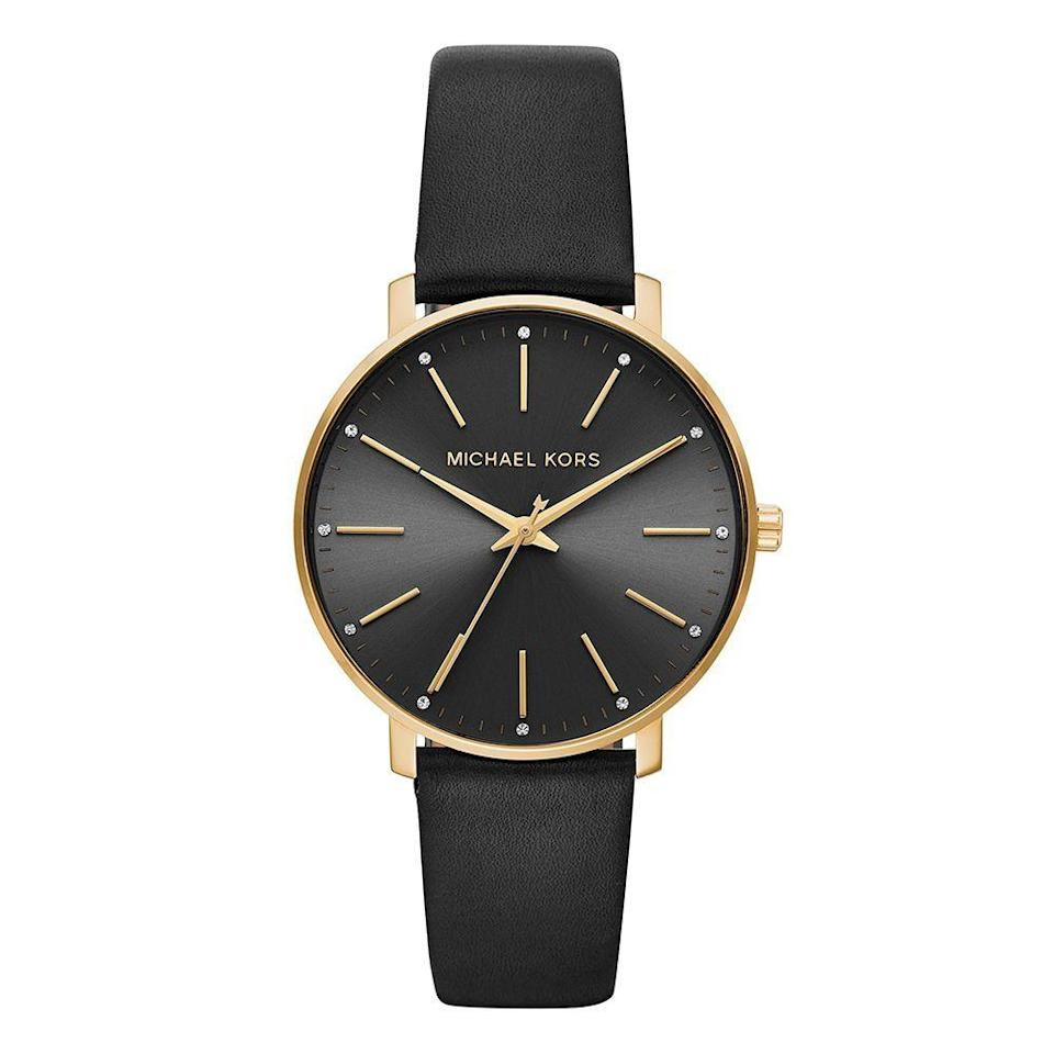 """<p><strong>Michael Kors</strong></p><p>amazon.com</p><p><strong>$112.50</strong></p><p><a href=""""https://www.amazon.com/dp/B07CJDP3LP?tag=syn-yahoo-20&ascsubtag=%5Bartid%7C2141.g.23308279%5Bsrc%7Cyahoo-us"""" rel=""""nofollow noopener"""" target=""""_blank"""" data-ylk=""""slk:Shop Now"""" class=""""link rapid-noclick-resp"""">Shop Now</a></p><p>Classic. Reliable. Always happy to tell you what time it is. Now who does <em>that</em> sound like? This Michael Kors leather watch will upgrade Mom's old one that she got 100 years ago. And if black isn't her thing, there are about 20 other styles to choose from. </p>"""