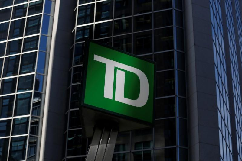 FILE PHOTO: A Toronto-Dominion Bank (TD) sign is seen outside of a branch in Ottawa, Ontario, Canada, May 26, 2016. REUTERS/Chris Wattie