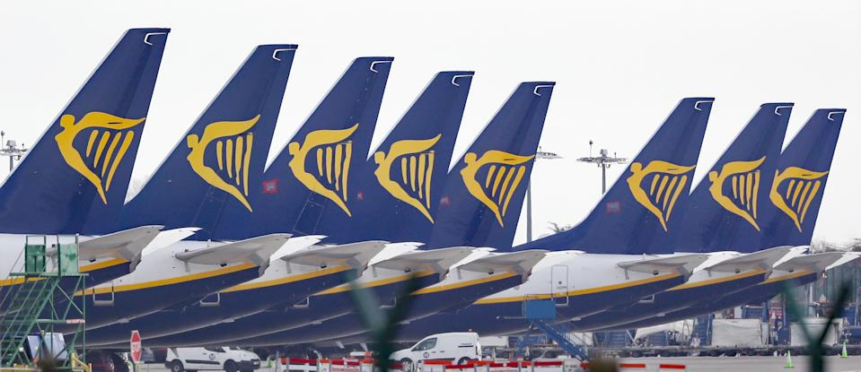 File photo dated 05/04/20 of Ryanair jets parked up on the runway of Dublin airport. Ryanair flew just two million passengers in November as demand for air travel continued to be hit by coronavirus restrictions.