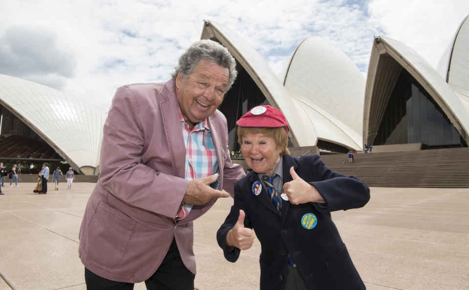 The Scottish comedians Janette Tough and Ian Tough with the harbour bridge and opera house on March 09, 2017 in Sydney, Australia.