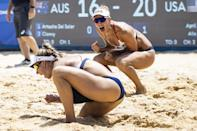 <p>April Ross and Alix Klineman of Team USA cheer after winning Gold in Beach Volleyball. </p>