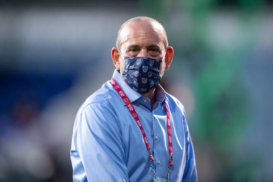 LAKE BUENA VISTA, FL - AUGUST 11: Don Garber, the Commissioner of Major League Soccer before a game between Orlando City SC and Portland Timbers at ESPN Wide World of Sports on August 11, 2020 in Lake Buena Vista, Florida. (Photo by Jeremy Reper/ISI Photos/Getty Images)