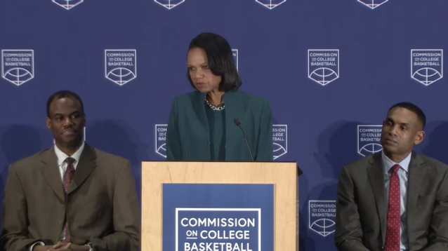 Commission on College Basketball chair Condoleezza Rice delivers recommendations on April 25, 2018, alongside Commission members David Robinson (L) and Grant Hill.