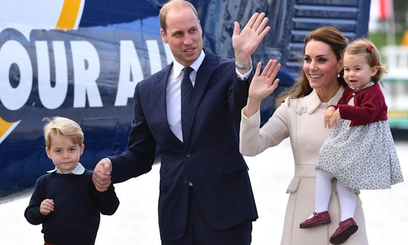 The Duke and Duchess of Cambridge, Prince George and Princess Charlotte on tour in Canada in October. The Cambridges arrive in Paris on Friday.
