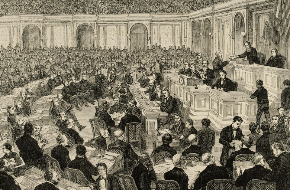 Congress verifies the counting of the presidential vote between Rutherford B. Hayes and Samuel Tilden in 1877. (Engraving by Ovejero/Universal Images Group via Getty Images)