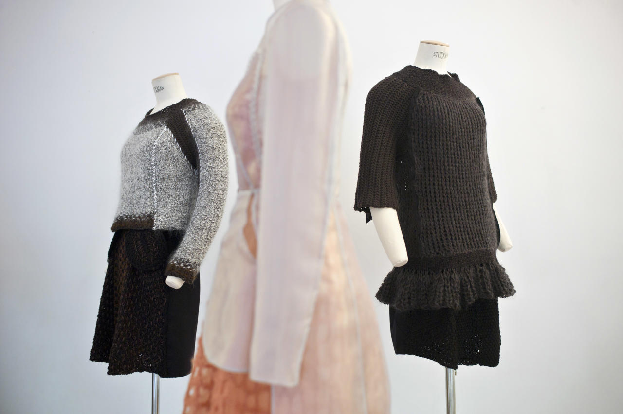 Mannequins show creations by French fashion designer Alice Lemoine as part of the presentation of Le Moine Tricote ready-to-wear Fall/Winter 2013-2014 collection, presented in Paris, Tuesday, Feb. 26, 2013. (AP Photo/Thibault Camus)