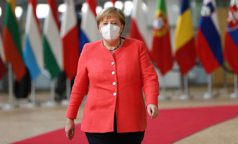 BRUSSELS, BELGIUM - JULY 17: German Chancellor Angela Merkel wearing a face mask as a precaution against coronavirus (Covid-19) pandemic attends EU Summit on EUâs economic recovery stimulus in Brussels, Belgium on July 17, 2020. (Photo by Dursun Aydemir/Anadolu Agency via Getty Images) (Photo: Anadolu Agency via Getty Images)