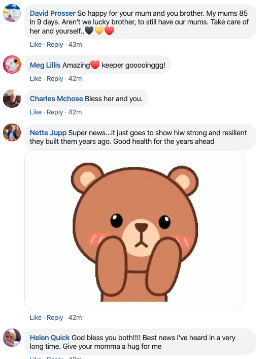 Screenshot of Facebook comments on Richard's viral post