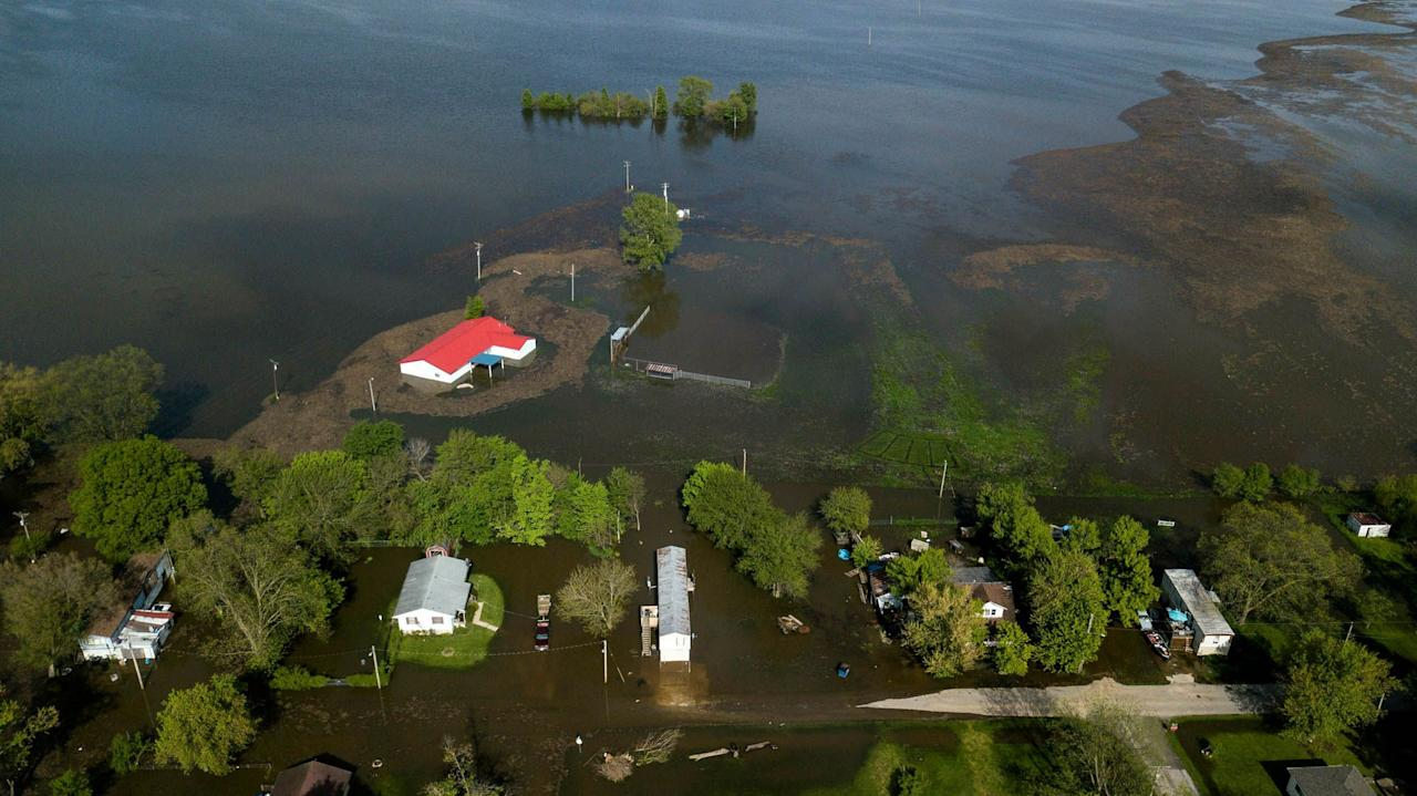 "<p>Another area of the American midwest is submerged in perhaps unprecedented flooding, this time along the Missisippi River. Parts of Missouri, Kansas, Nebraska, Oklahoma, Arkansas, and Texas were issued further flood watches this week, according to <a href=""https://www.usatoday.com/story/news/nation/2019/05/07/midwest-flooding-soggy-midwest-braces-more-storms/1127348001/"" target=""_blank""><em>USA Today</em></a>, as areas already battered by storms and rain faced another onslaught that threatened to reengage the river floodwaters that had started to recede. The conditions have hit hard in small towns like Davenport, Iowa, which saw the nearby Mississippi crest to a record-high of more than 22 feet last week. In Missouri, close to a dozen levees have been breached or are threatened. It's the culmination of Midwest flooding that, according to the <em><a href=""https://www.washingtonpost.com/national/flooding-wreaks-havoc-along-mississippi-river-a-transit-hub-for-1b-in-goods/2019/05/06/bddf5194-7049-11e9-b5ca-3d72a9fa8ff1_story.html?utm_term=.67db7bbbe0e5"" target=""_blank"">Washington Post</a></em><a href=""https://www.washingtonpost.com/national/flooding-wreaks-havoc-along-mississippi-river-a-transit-hub-for-1b-in-goods/2019/05/06/bddf5194-7049-11e9-b5ca-3d72a9fa8ff1_story.html?utm_term=.67db7bbbe0e5"" target=""_blank""></a>, has already caused $12 billion in damage this year. Here are some of the most striking photos for a glimpse of what it's like on the ground.<em></em><br></p>"